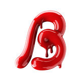 Leaky red alphabet isolated on white background. Handwritten cursive letter B. 3d rendering Royalty Free Stock Photos