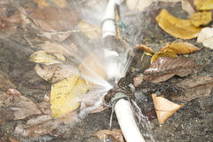 Leaky rubber tube on ground Royalty Free Stock Photography