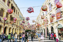 Leal senado square central old colonial area of macau china Royalty Free Stock Photos