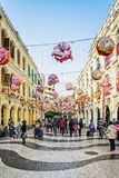Leal senado square central old colonial area of macau china Royalty Free Stock Images