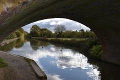 Leamington温泉-英国-在水运河的看法 免版税图库摄影