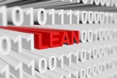 LEAN. As a binary code with blurred background 3D illustration Royalty Free Stock Photography