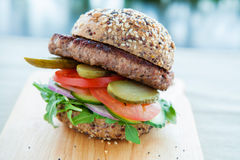 Lean beef burger Royalty Free Stock Photography