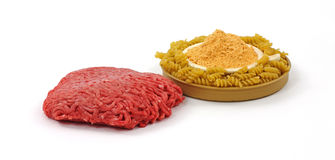 Lean Beef Pasta and Sauce Mix Angle Royalty Free Stock Image