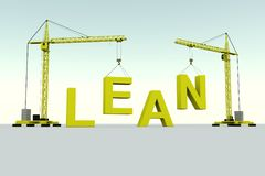 LEAN building concept. Crane white background 3d illustration Stock Photos