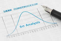 Lean Construction. Efficiency of Lean Construction Management is shown by a six sigma curve stock image