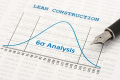 Lean Construction. Efficiency of Lean Construction Management is shown by a six sigma curve stock photo