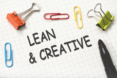 Lean And Creative. Concept On Paper Stock Images