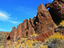 Lean on Each Other. Red rock formations at Jasper Rocks - Crooked River National Grassland - near Culver, OR royalty free stock image
