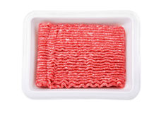 Lean ground beef. In white styrofoam meal box Royalty Free Stock Photography