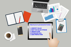 Lean management principles on the workplace. Top view of office desk with supplies. The hand is touching tablet screen with  text describing the principles of Royalty Free Stock Photos