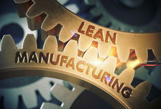 Lean Manufacturing Concept. Golden Gears. 3D Illustration. Stock Photo