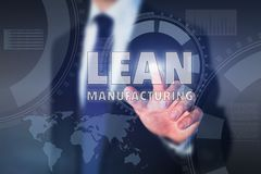 Lean manufacturing. Concept, button on touch screen Stock Photography