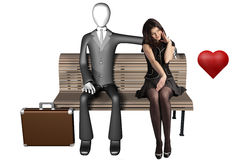 Lean on me when you're not strong. 3d illustration of businessman sitting alone on a bench with a shy girl next to him and heart isolated on white background Stock Photos