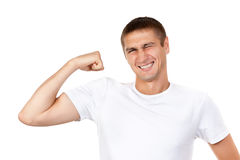 Lean muscle man shows his hand Stock Image
