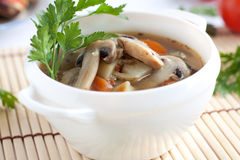 Lean mushroom soup with vegetables Royalty Free Stock Photography