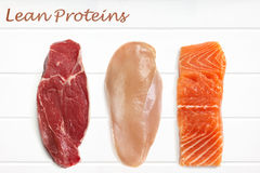 Lean Proteins Food Background. Red meat, chicken breast and salmon fillet over white timber. Top View royalty free stock image