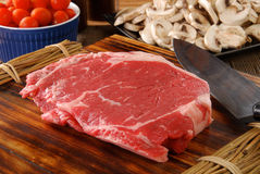 Lean raw rib steak Stock Images