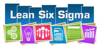 Lean Six Sigma Business Symbols Colorful Squares Stripes. Lean six sigma text written over blue colorful background with related symbols royalty free illustration