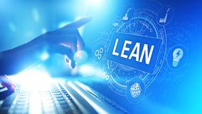 Lean, Six sigma, quality control and manufacturing process management concept on virtual screen. Lean, Six sigma, quality control and manufacturing process royalty free illustration