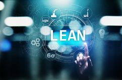 Lean, Six sigma, quality control and manufacturing process management concept on virtual screen. Lean, Six sigma, quality control and manufacturing process vector illustration