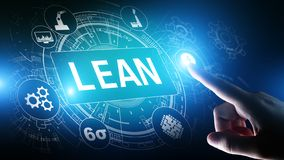 Lean, Six sigma, quality control and manufacturing process management concept on virtual screen. Lean, Six sigma, quality control and manufacturing process stock photo