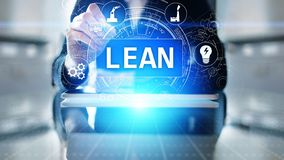 Lean, Six sigma, quality control and manufacturing process management concept on virtual screen. Lean, Six sigma, quality control and manufacturing process stock photography