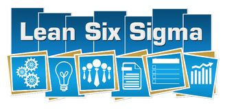 Lean Six Sigma Business Symbols Blue Squares Stripes. Lean six sigma text written over blue colorful background with related symbols stock illustration