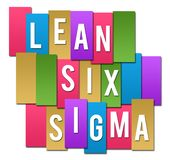 Lean Six Sigma Colorful Stripes Group. Lean six sigma text written over colorful background stock illustration