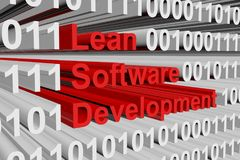 Lean software development. In the form of binary code, 3D illustration Stock Images