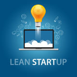 Lean start-up product launch bulb idea technology company. Vector Stock Photo