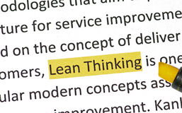 Lean Thinking. The modern business improvement methodology, Lean Thinking. It is based on the concepts of understanding customer value, value stream analysis Stock Images