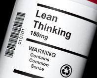 Lean Thinking. The popular business and performance improvement concept, in tablet form ready to be dispensed stock photos