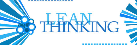 Lean Thinking Blue Graphics Horizontal. Lean thinking text written over blue background Royalty Free Stock Image