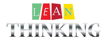 Lean thinking. Illustrated in colorful cards and grey text graphics on white Royalty Free Stock Photos