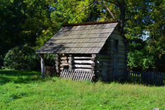 Lean-to barn. A lean-to barn at Abraham Lincoln's New Salem State Historical site in Illinois Royalty Free Stock Photo