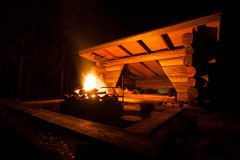 Lean-to campsite in forest Stock Photos