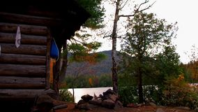Lean to Shelter at Copperas Pond in the Adirondack Mountains High Peaks Region. Lean to Shelter in Autumn / Fall At Copperas Pond in the Adirondack Mountains stock footage