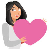 Lean woman holding cartoon heart icon. Flat design lean woman holding cartoon heart icon  illustration Royalty Free Stock Photos