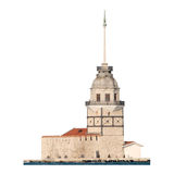 Leander's Tower, isolated, Istanbul, Turkey. Famous Bosphorus landmark perfectly isolated, has fine details Stock Photography