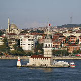Leander's tower at bosphorus istanbul stock photography