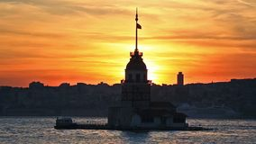 Leander`s Tower, Istanbul, Turkey. Leander`s Tower in the sunset, Istanbul, Turkey stock footage