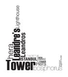 Leander's tower silhouette. Lighthouse was created with typographic design Royalty Free Stock Photos
