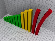 Leaning 3D bar graph. Illustration in red, yellow and green on a grey grid background Royalty Free Stock Photo