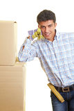 Leaning on boxes Royalty Free Stock Photos