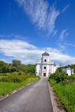 The leaning church in Karvina stock images
