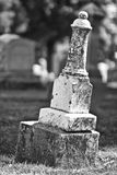 Leaning Headstone. Black and White of a Leaning Headstone stock images