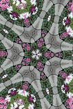 Leaning Kaleidoscope Star. Kaleidoscopic leaning star pattern made from a photograph of a spring flower garden Vector Illustration