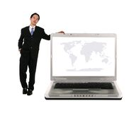 Leaning On Laptop With World Map Royalty Free Stock Photo