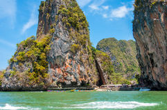 Leaning rock at Phang Nga Bay, Thailand Royalty Free Stock Photo